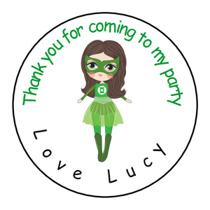 Personalised Glossy Birthday Party Favour Sweet Bag Stickers - Female Green Lantern