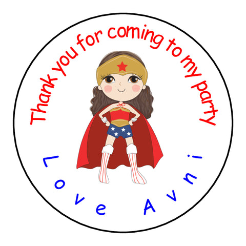 Personalised Round Glossy Birthday Party Favour Sweet Bag Stickers Wonder Woman