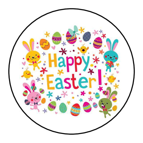 Personalised Round Glossy Happy Easter Stickers Easter Bunny & Eggs