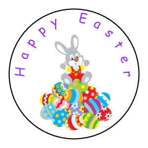 Personalised Round Glossy Happy Easter Stickers Easter Bunny
