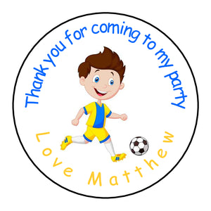 Personalised Glossy Birthday Party Favour Sweet Bag Stickers - Footballer