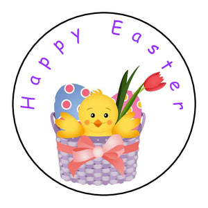 Personalised Round Glossy Happy Easter Stickers Easter Chick