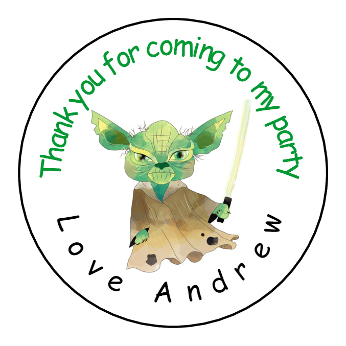 Personalised Round Glossy Birthday Party Favour Sweet Bag Stickers Yoda