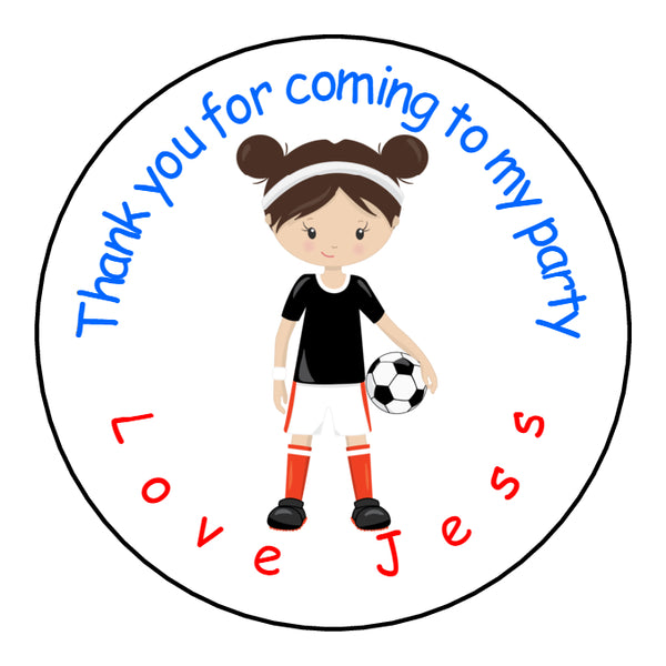 Personalised Glossy Birthday Party Favour Sweet Bag Stickers - Girl Footballer