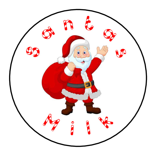 Glossy Round Christmas Labels Stickers Santas Milk