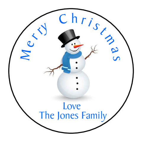 Personalised Round Glossy Christmas Present Gift Label Tag Stickers Snowman