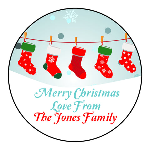 Personalised Round Glossy Christmas Present Gift Label Tag Stickers Stockings