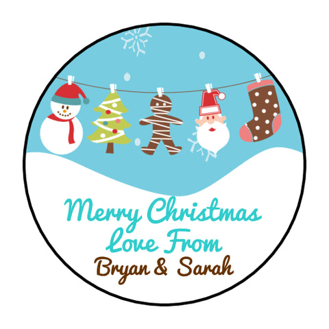 Personalised Round Glossy Christmas Present Gift Label Tag Stickers Bunting