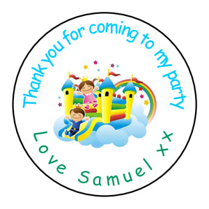 Personalised Round Glossy Birthday Party Favour Sweet Bag Stickers Bouncy Castle