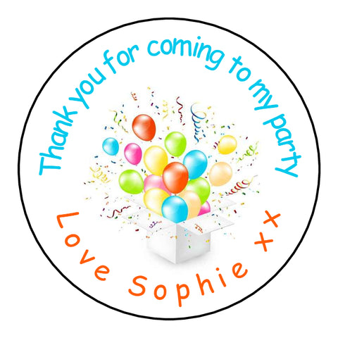Personalised Glossy Birthday Party Favour Sweet Bag Stickers - Gift Box Bursting Balloons