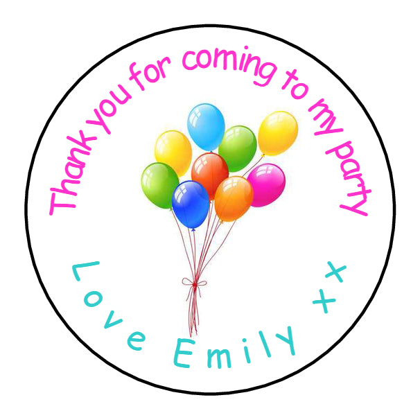 Personalised Round Glossy Birthday Party Favour Sweet Bag Stickers Balloons