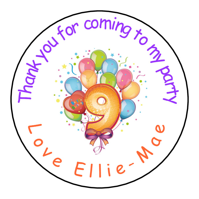 Personalised Round Glossy Birthday Party Favour Sweet Bag Stickers Balloons Age 9