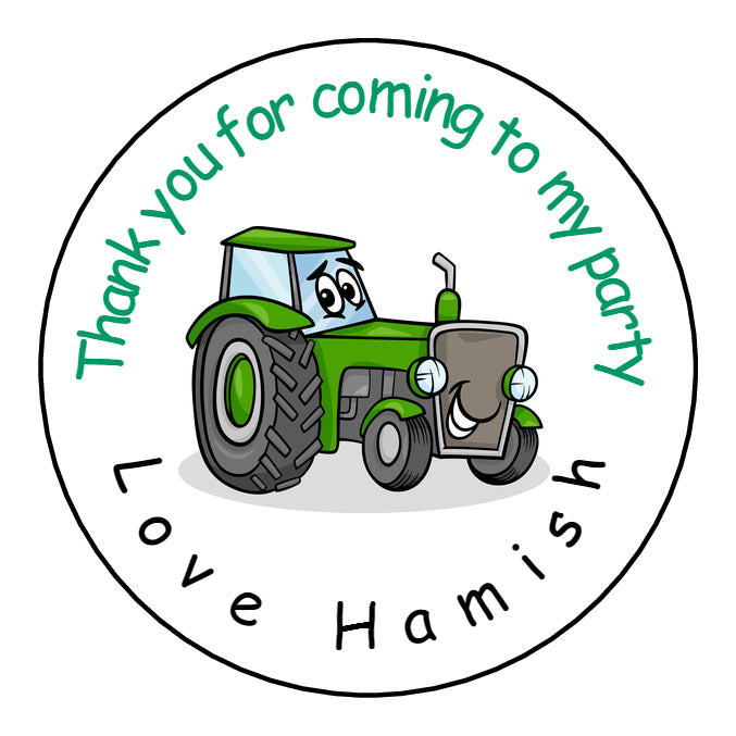 Personalised Round Glossy Birthday Party Favour Sweet Bag Stickers Green Tractor