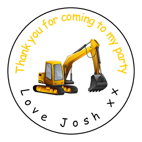Personalised Glossy Birthday Party Favour Sweet Bag Stickers - Digger
