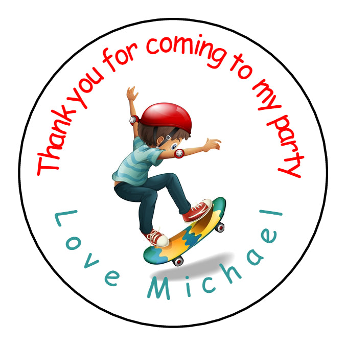Personalised Glossy Birthday Party Favour Sweet Bag Stickers - Skateboard Boy