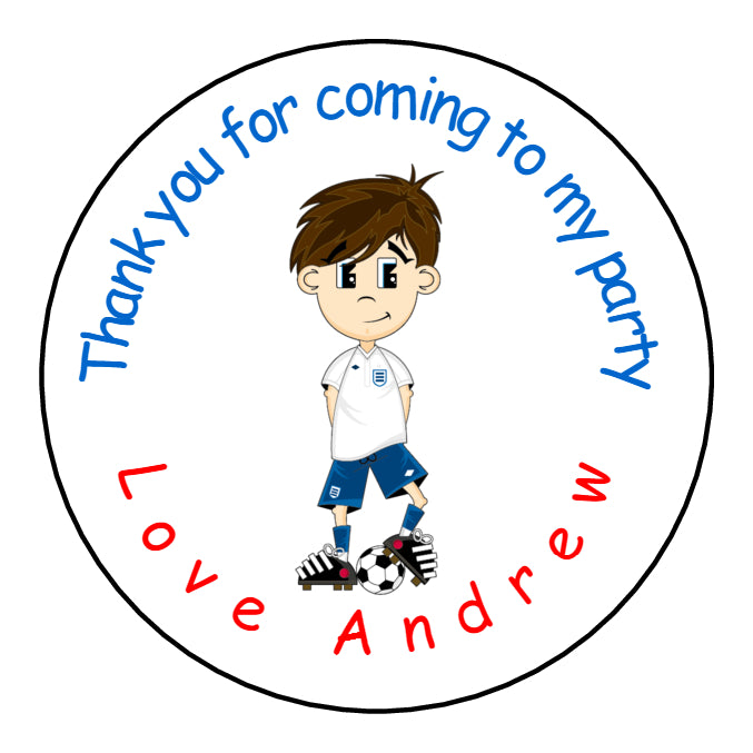 Personalised Glossy Birthday Party Favour Sweet Bag Stickers - Football