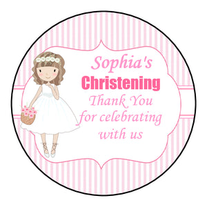 Personalised Christening Day Favour Stickers For Sweet Bags