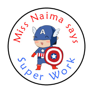 Personalised Reward Stickers For Teachers Parents Superheros Captain America