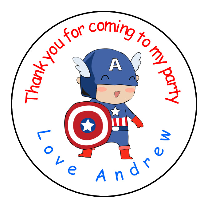 Personalised Round Glossy Birthday Party Favour Bag Stickers Captain America