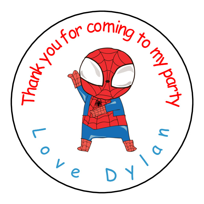 Personalised Round Glossy Birthday Party Favour Bag Stickers Spiderman