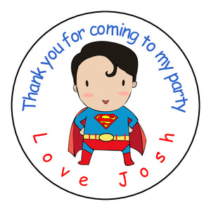 Personalised Round Glossy Birthday Party Favour Bag Stickers Superman