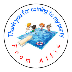 Personalised Glossy Birthday Party Favour Sweet Bag Stickers - Swimming Pool