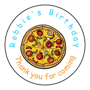 Personalised Round Glossy Birthday Party Favour Sweet Bag Stickers Pizza