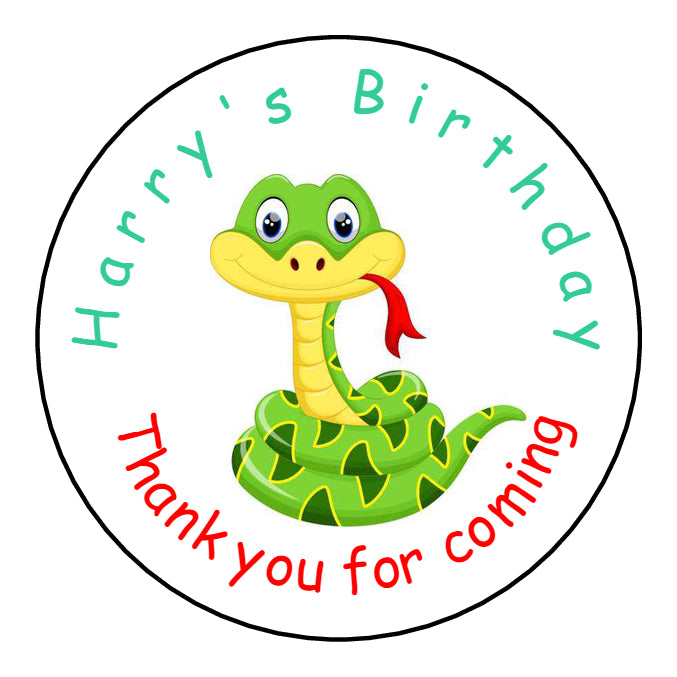 Personalised Glossy Birthday Party Favour Sweet Bag Stickers - Snake