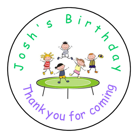 Personalised Glossy Birthday Party Favour Sweet Bag Stickers - Trampoline