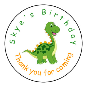 Personalised Glossy Birthday Party Favour Sweet Bag Stickers - Dinosaur