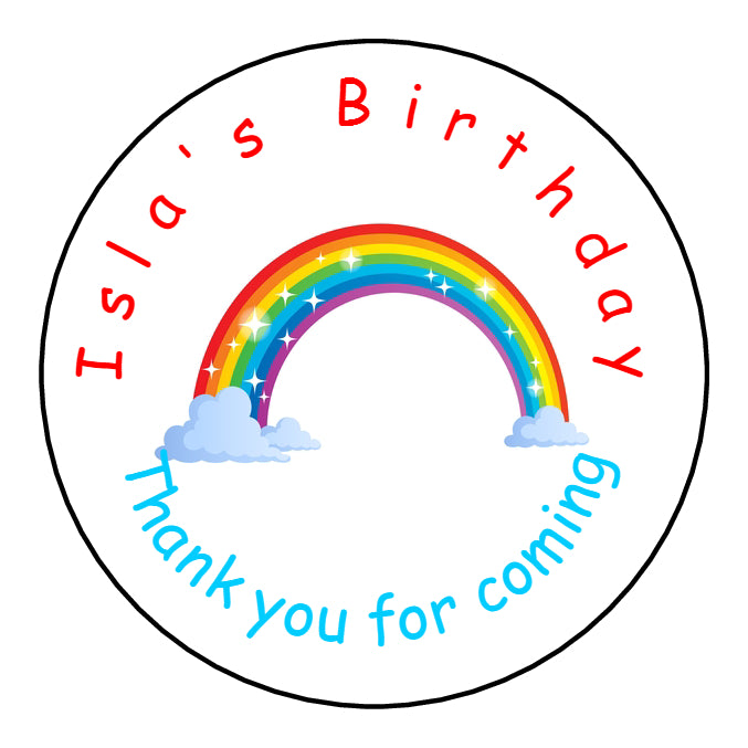 Personalised Round Glossy Birthday Party Favour Sweet Bag Stickers Rainbow