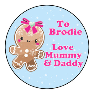 Personalised Round Glossy Christmas Present Gift Label Tag Stickers Gingerbread Man