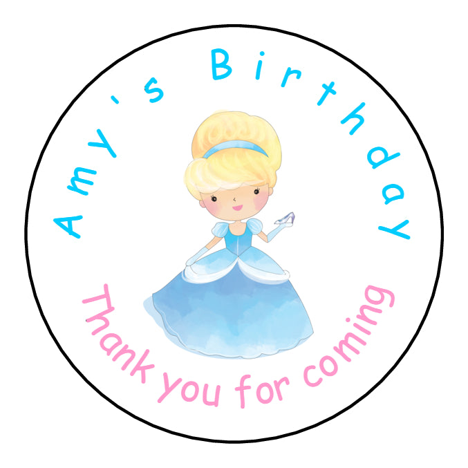 Personalised Glossy Birthday Party Favour Sweet Bag Stickers - Cinderella