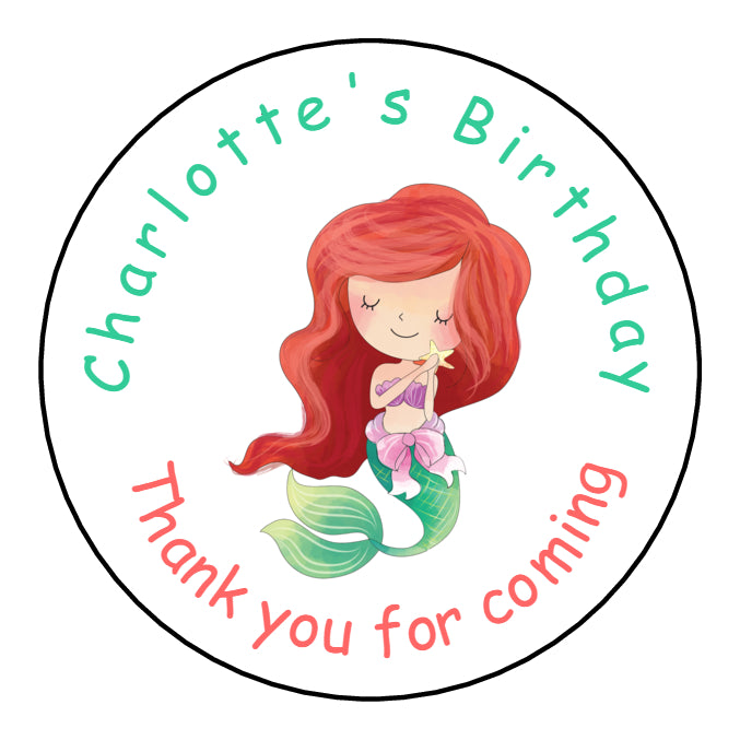 Personalised Round Glossy Birthday Party Favour Sweet Bag Stickers Mermaid