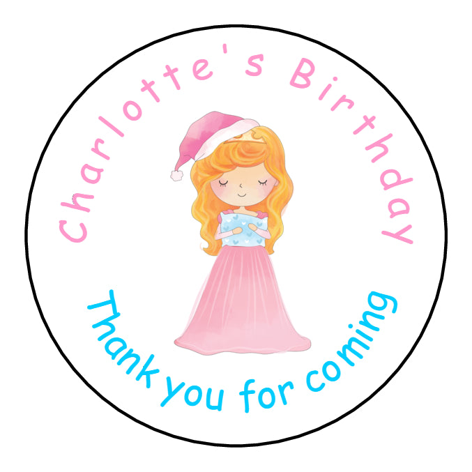 Personalised Glossy Birthday Party Favour Sweet Bag Stickers - Sleeping Beauty