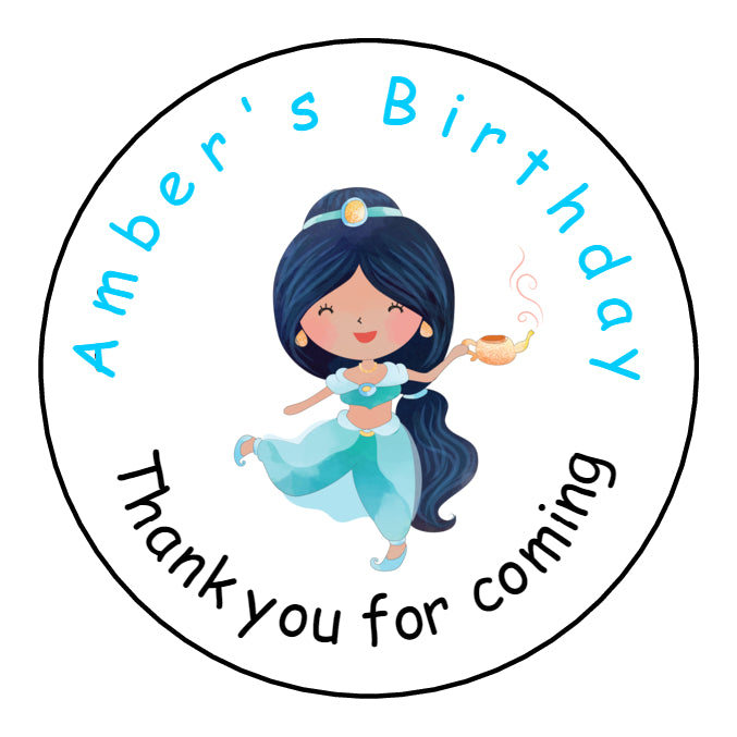 Personalised Round Glossy Birthday Party Favour Sweet Bag Stickers Princess Jasmine