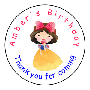 Personalised Glossy Birthday Party Favour Sweet Bag Stickers - Snow White