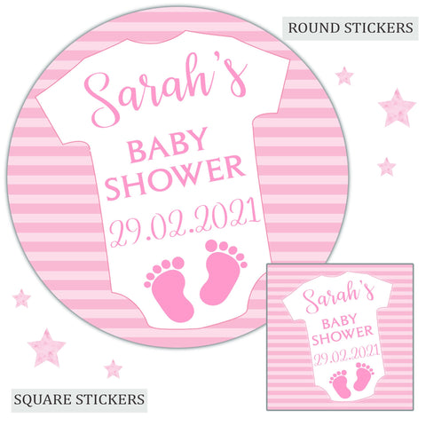 Personalised Baby Shower Party Favour Sweet Bag Stickers Baby Grow Pink