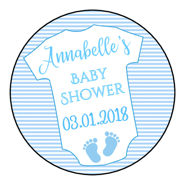 Personalised Round Glossy Baby Shower Party Favour Sweet Bag Stickers Baby Grow 3 Colour Options