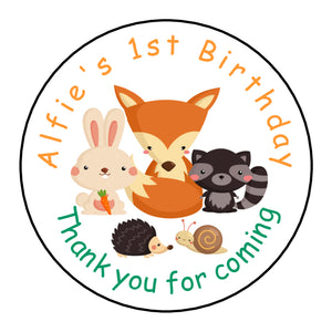 Personalised Round Glossy Birthday Party Favour Sweet Bag Stickers Woodland Animals