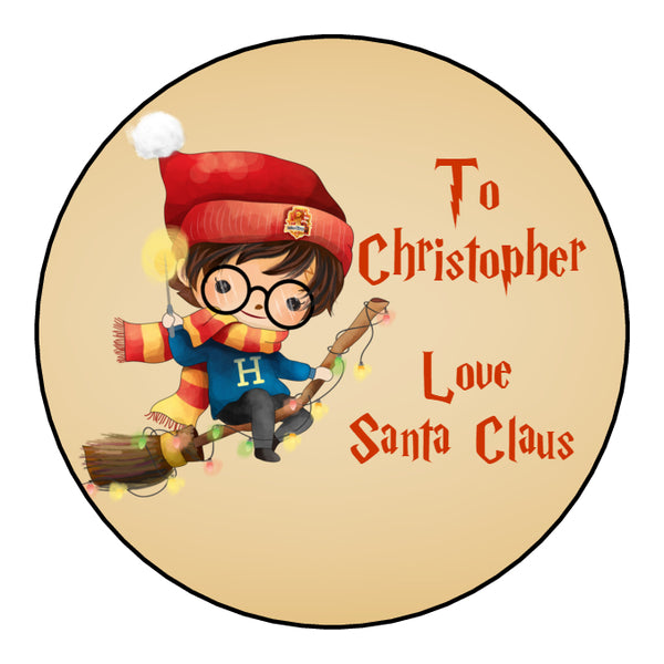 Personalised Round Glossy Christmas Present Gift Label Tag Stickers Harry Potter