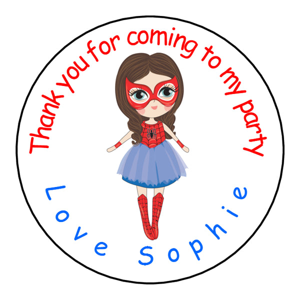 Personalised Glossy Birthday Party Favour Sweet Bag Stickers - Superhero Spider Girl