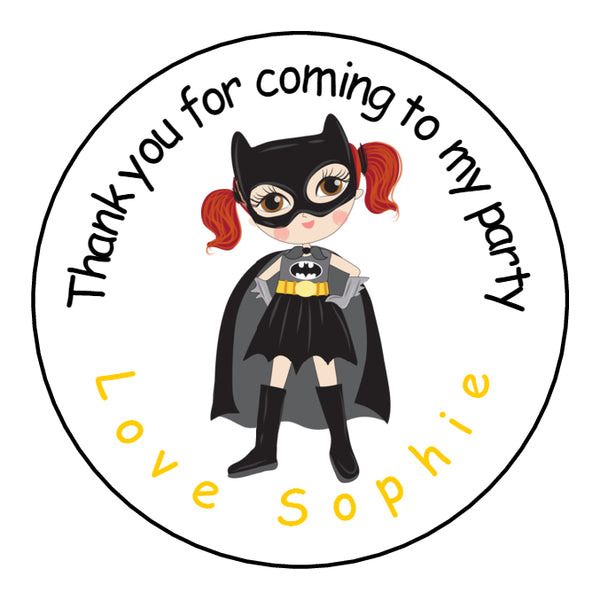 Personalised Glossy Birthday Party Favour Sweet Bag Stickers - Superhero Bat Girl
