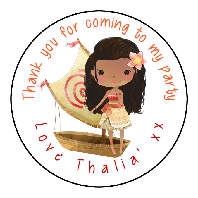 Personalised Round Glossy Birthday Party Favour Sweet Bag Stickers Moana
