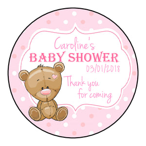 Personalised Round Glossy Baby Shower Party Favour Sweet Bag Stickers Baby Bear 3 Colour Options