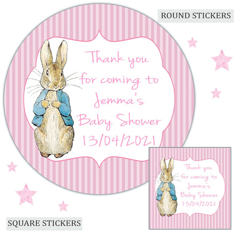 Personalised Baby Shower Party Favour Sweet Bag Stickers Peter Rabbit Pink