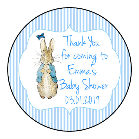 Personalised Round Glossy Baby Shower Party Favour Sweet Bag Stickers Peter Rabbit 3 Colour Options