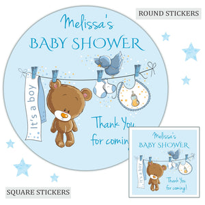Personalised Baby Shower Party Favour Sweet Bag Stickers Baby Washing Line Blue