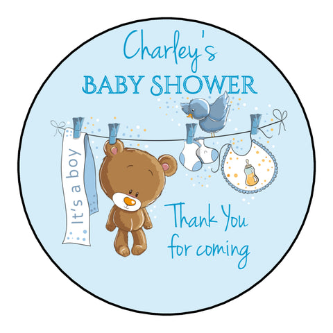 Personalised Round Glossy Baby Shower Party Favour Sweet Bag Stickers Teddy Bear Washing Line