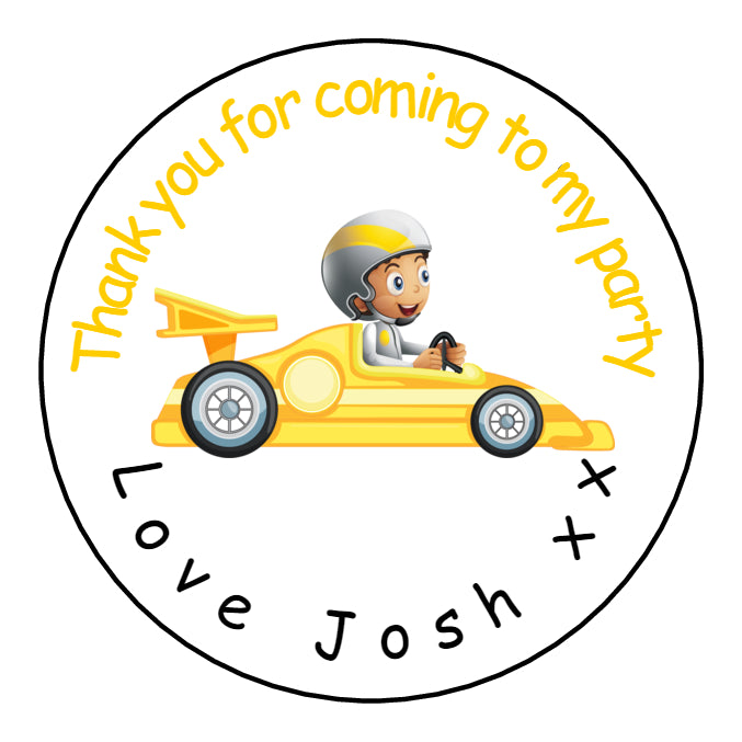 Personalised Glossy Birthday Party Favour Sweet Bag Stickers - Go Kart